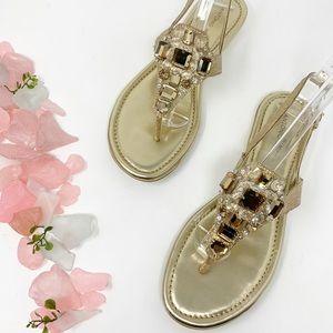 New Antonio Melani Gold Leather Rhinestone Sandals